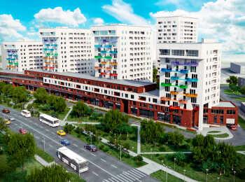 Яркое оформление фасадов жилого комплекса